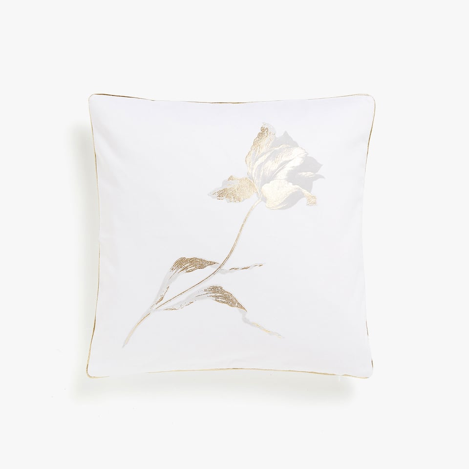 Cushion cover with gold rose motif