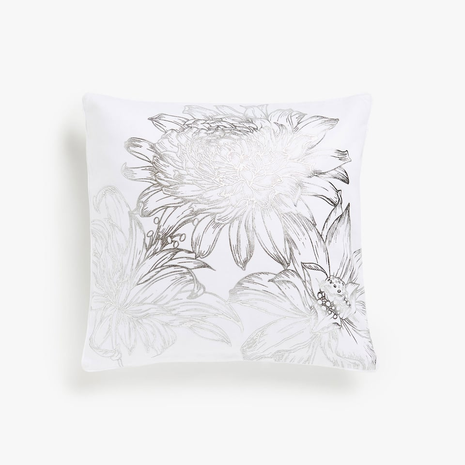 Chrysanthemum print cushion cover
