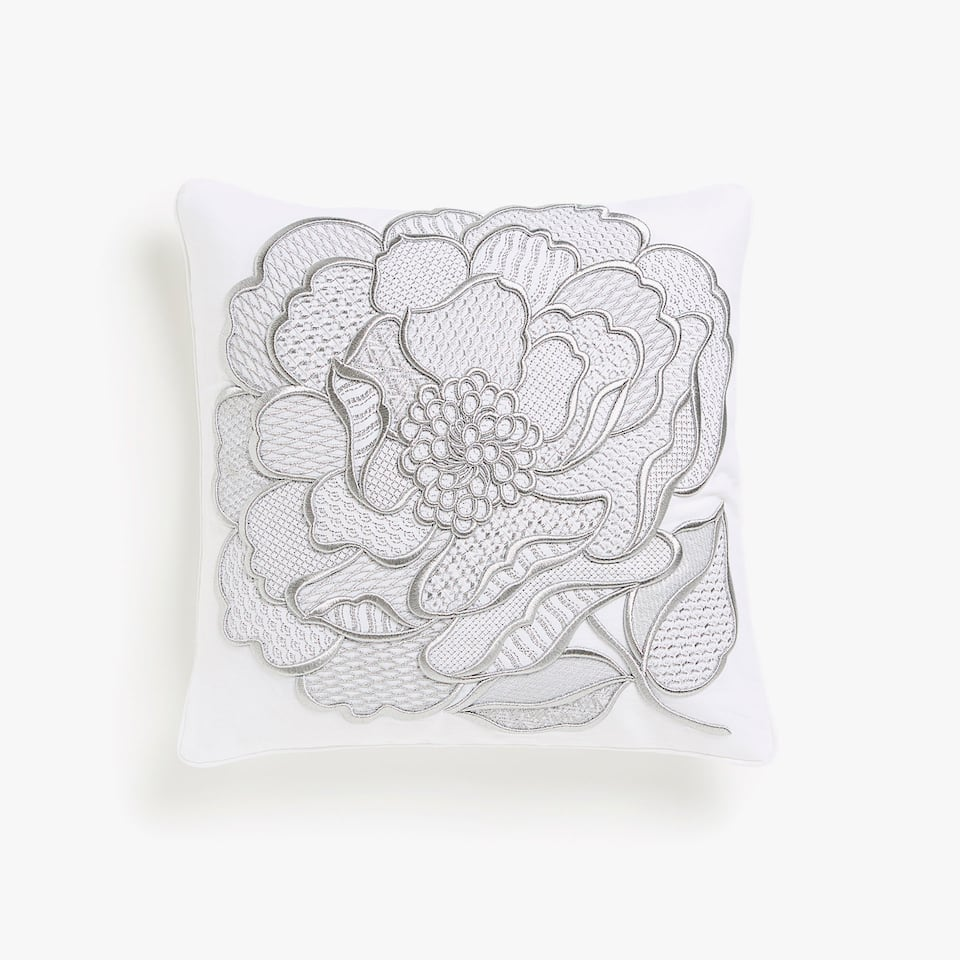 Cushion cover with textured floral embroidery