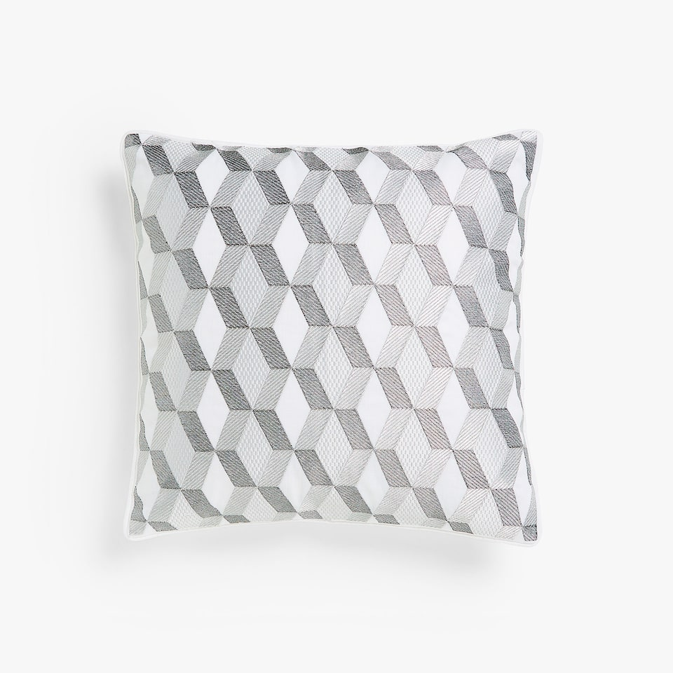 Grey geometric print cushion cover