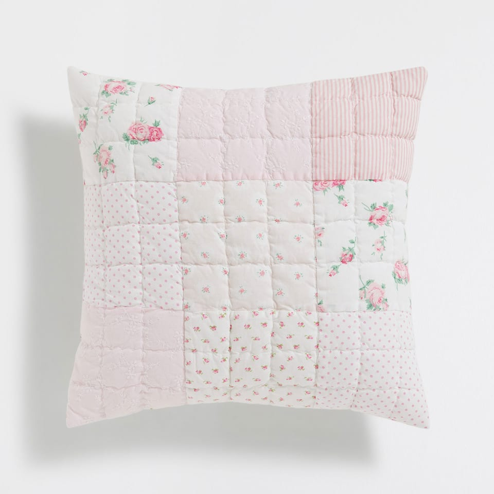 PINK-TONED PATCHWORK COTTON CUSHION COVER