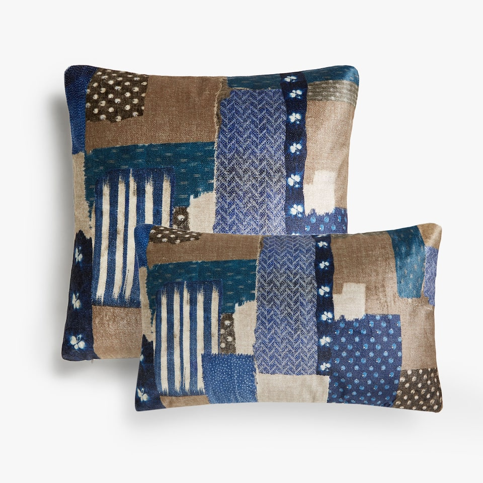 Patchwork print cushion cover