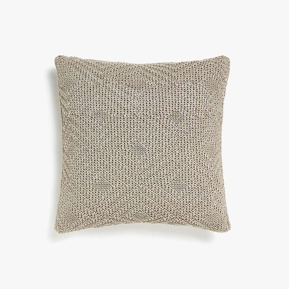 Knit linen cushion cover