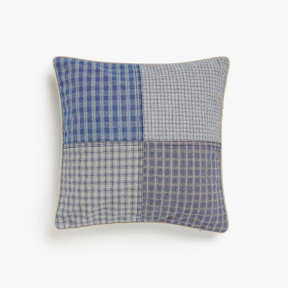 Patchwork checked cushion cover