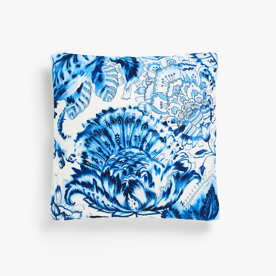 Blue floral print cushion cover