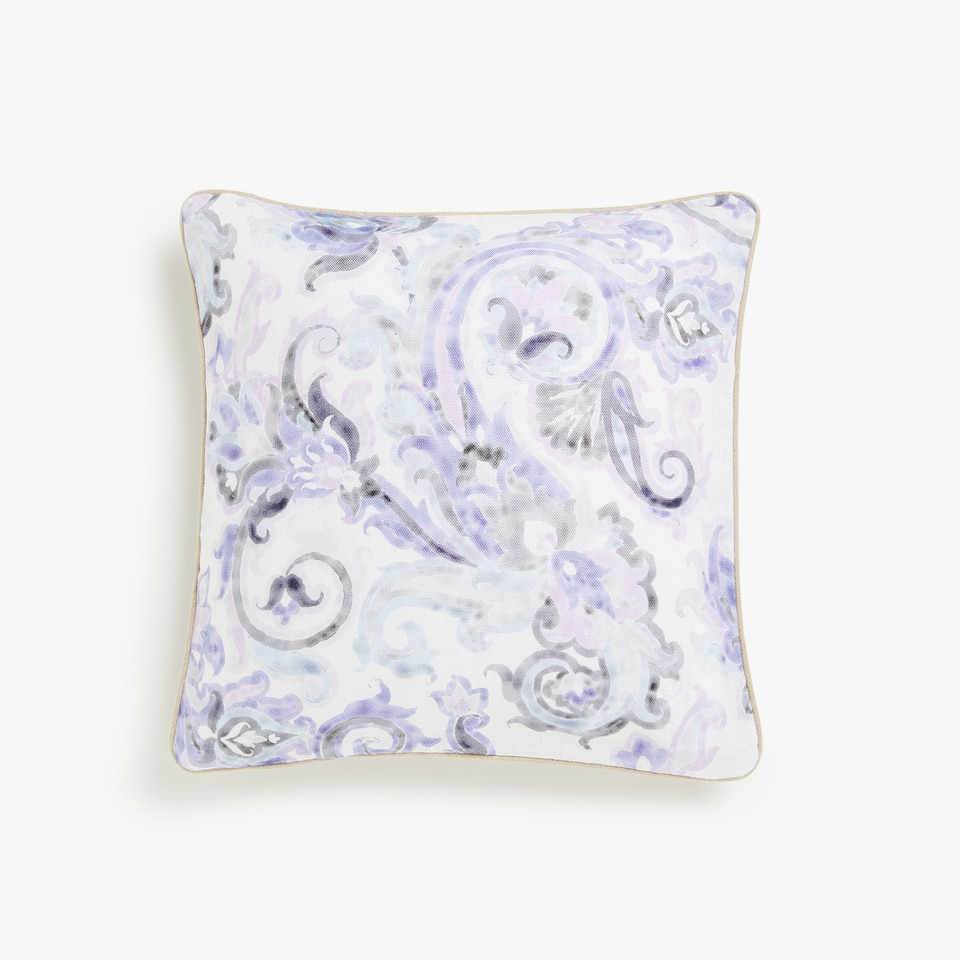 Linen cushion cover with ornate print
