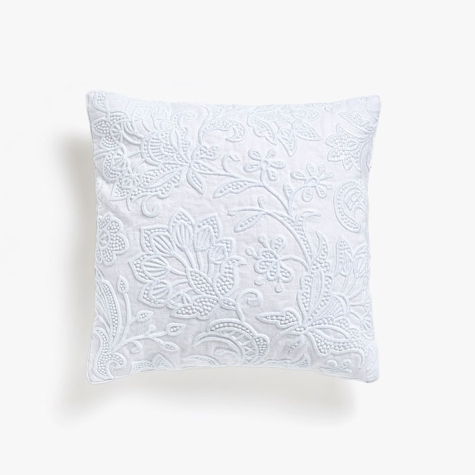 Pure white embroidered cushion cover
