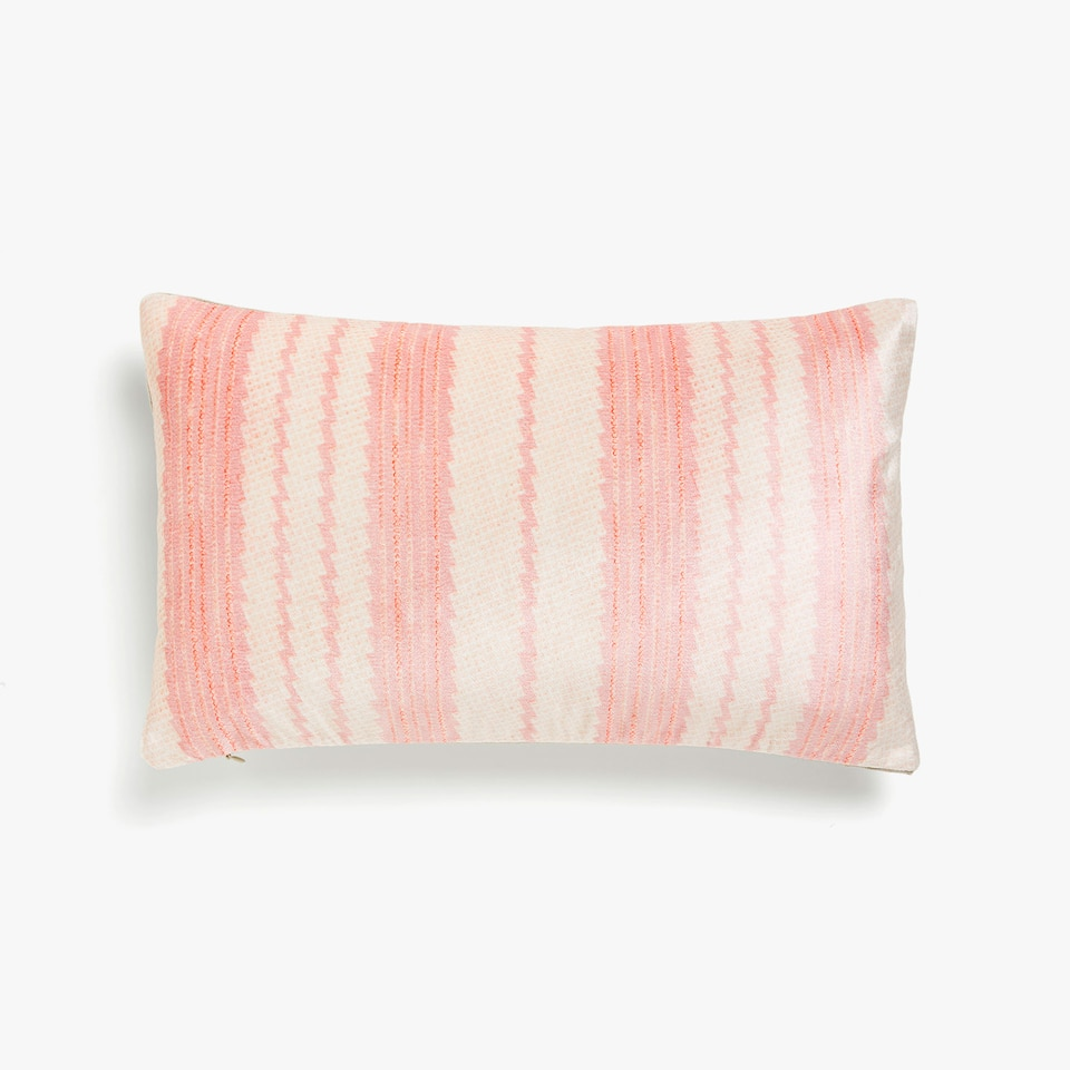 Pink striped cushion cover