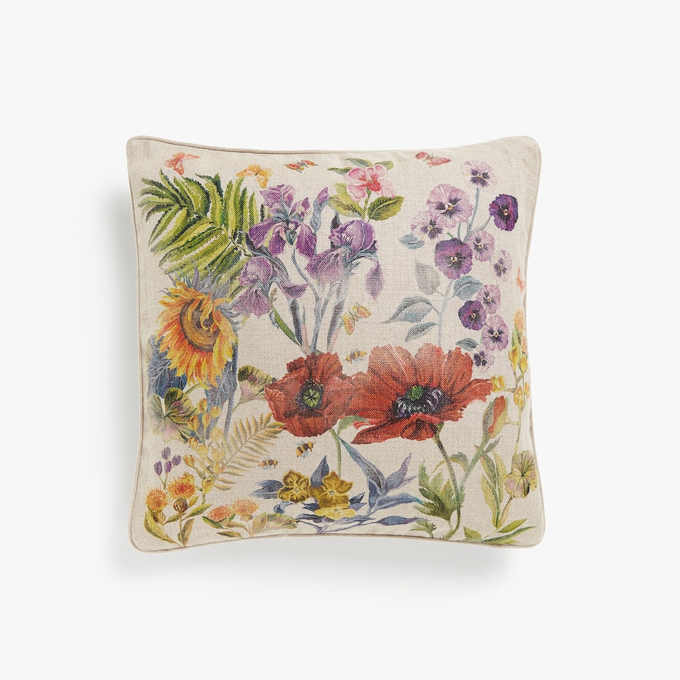 Vegetation print cushion cover