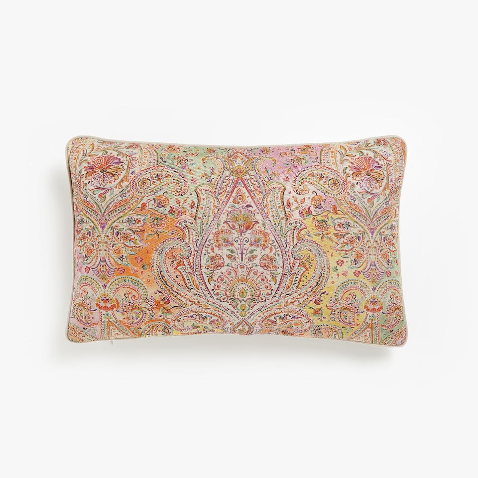 Pastel-coloured paisley print cushion cover