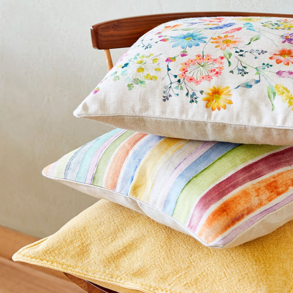 Colourful striped cushion cover