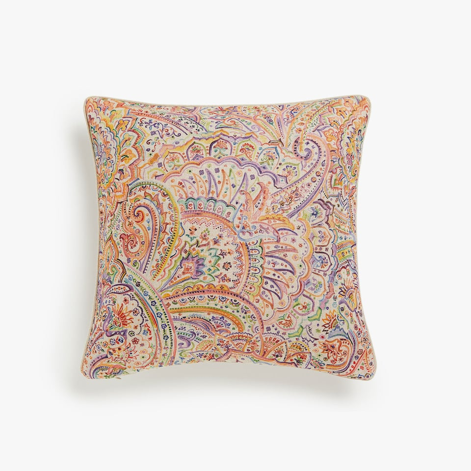 Multicoloured paisley cushion cover