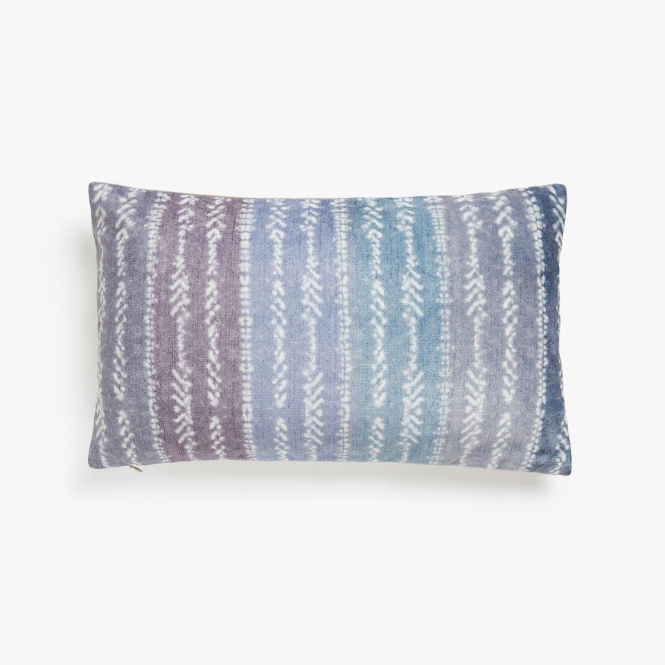 Multi-striped velvet cushion cover