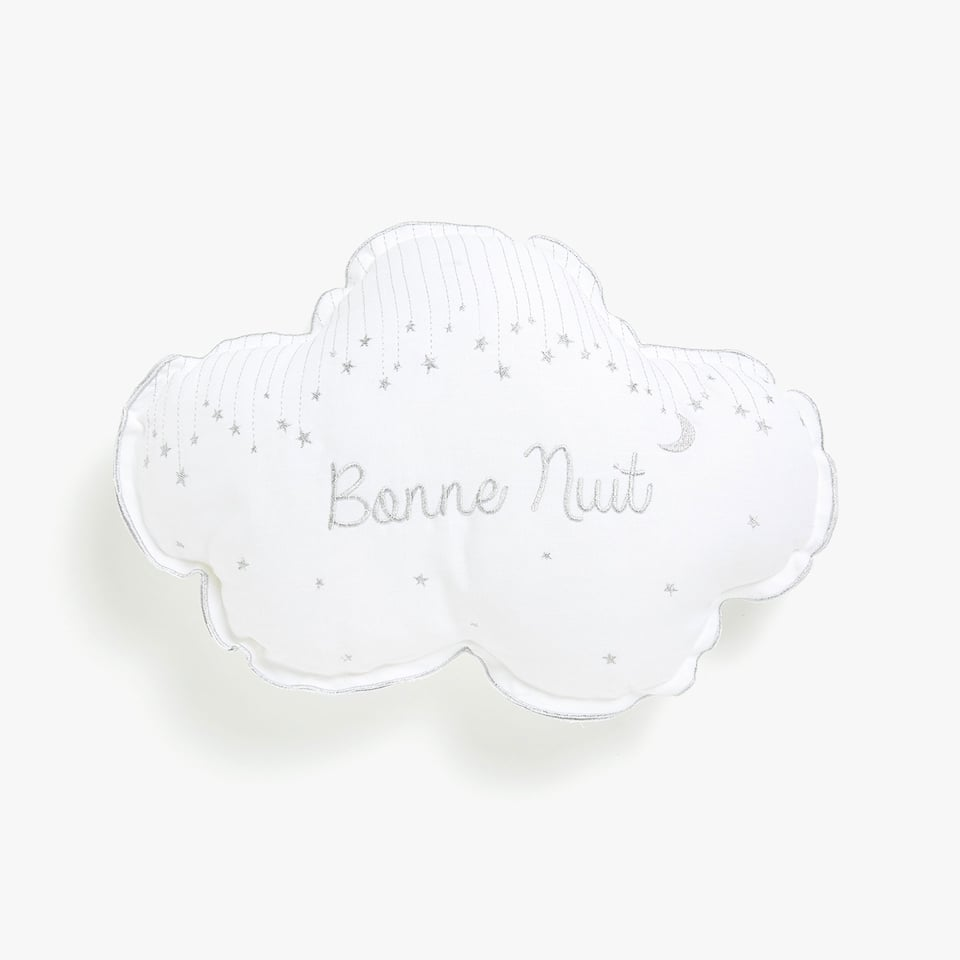 Cloud-shaped embroidered cushion