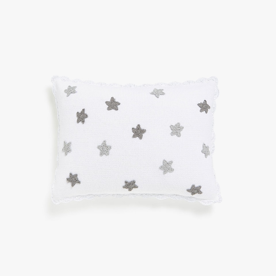Crochet cushion cover with grey stars