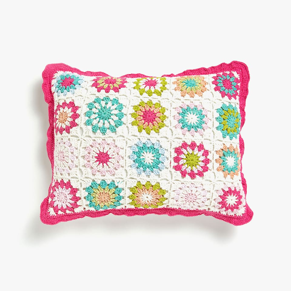 Multicoloured floral crochet cushion cover