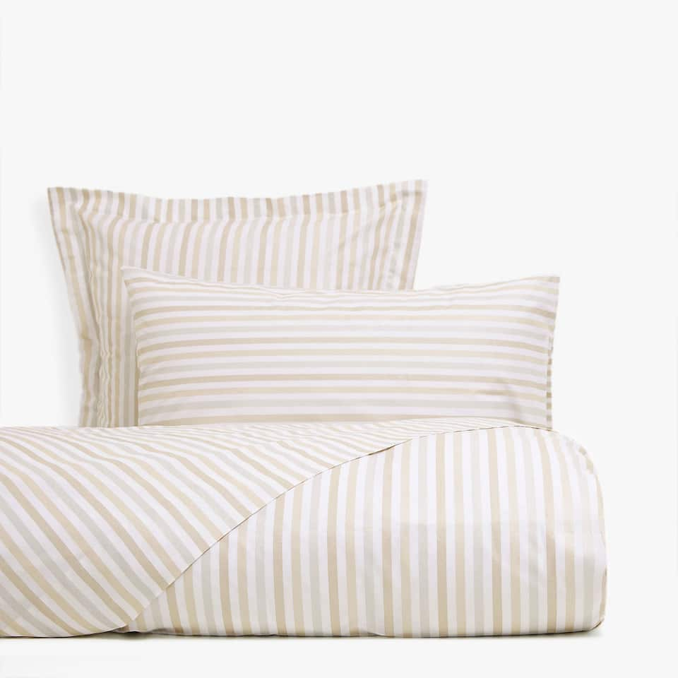 Gold and silver striped duvet cover