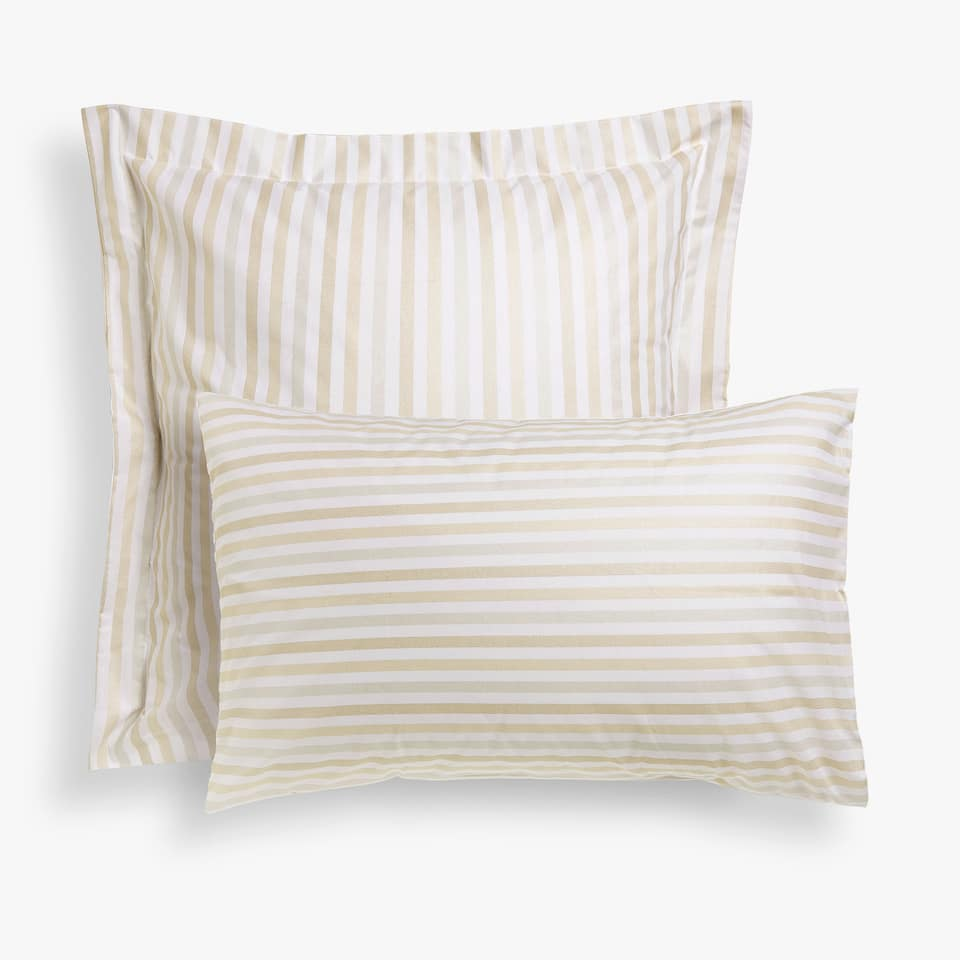 Gold and silver striped pillow case