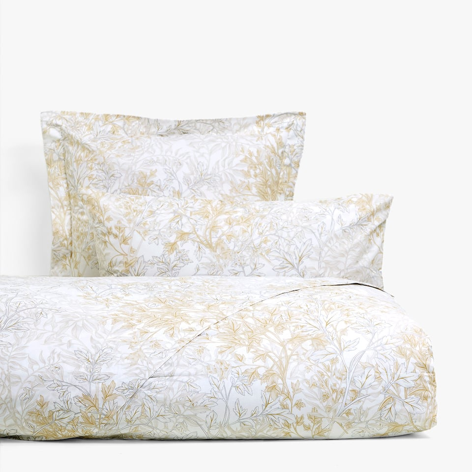 Gold and silver leaf print duvet cover