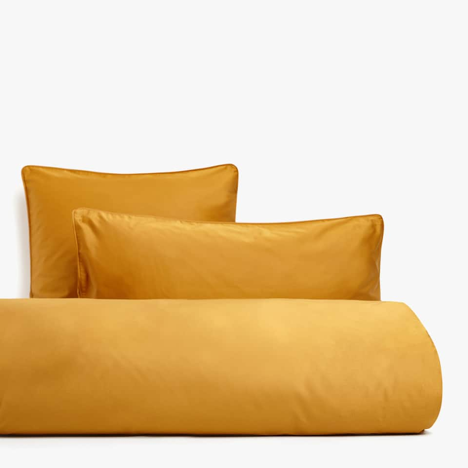 SOLID-COLOURED SATEEN DUVET COVER WITH PIPING