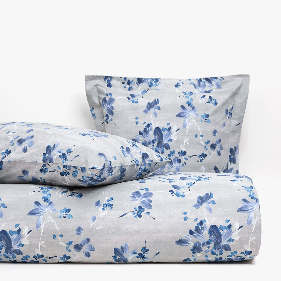 BLUE TEXTURED FLORAL PRINT DUVET COVER
