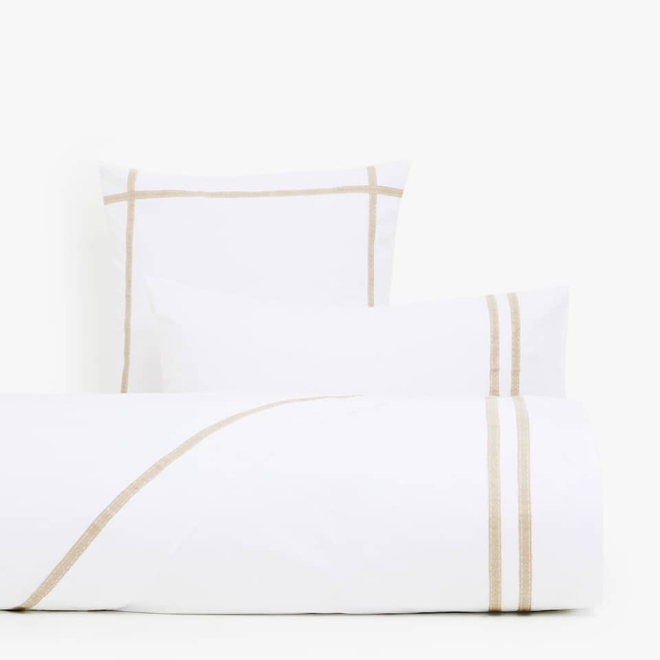 DUVET COVER WITH A CONTRASTING NATURAL LINEN RIBBON