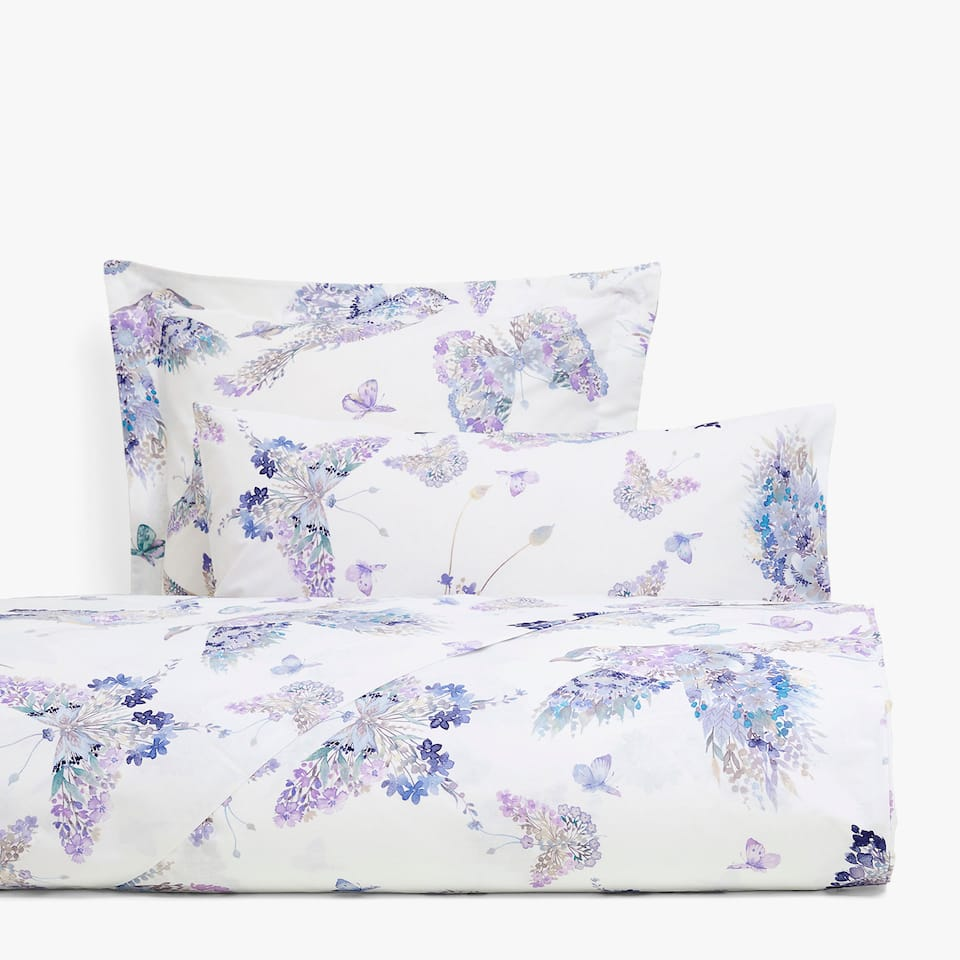 Watercolour bird and butterfly print duvet cover