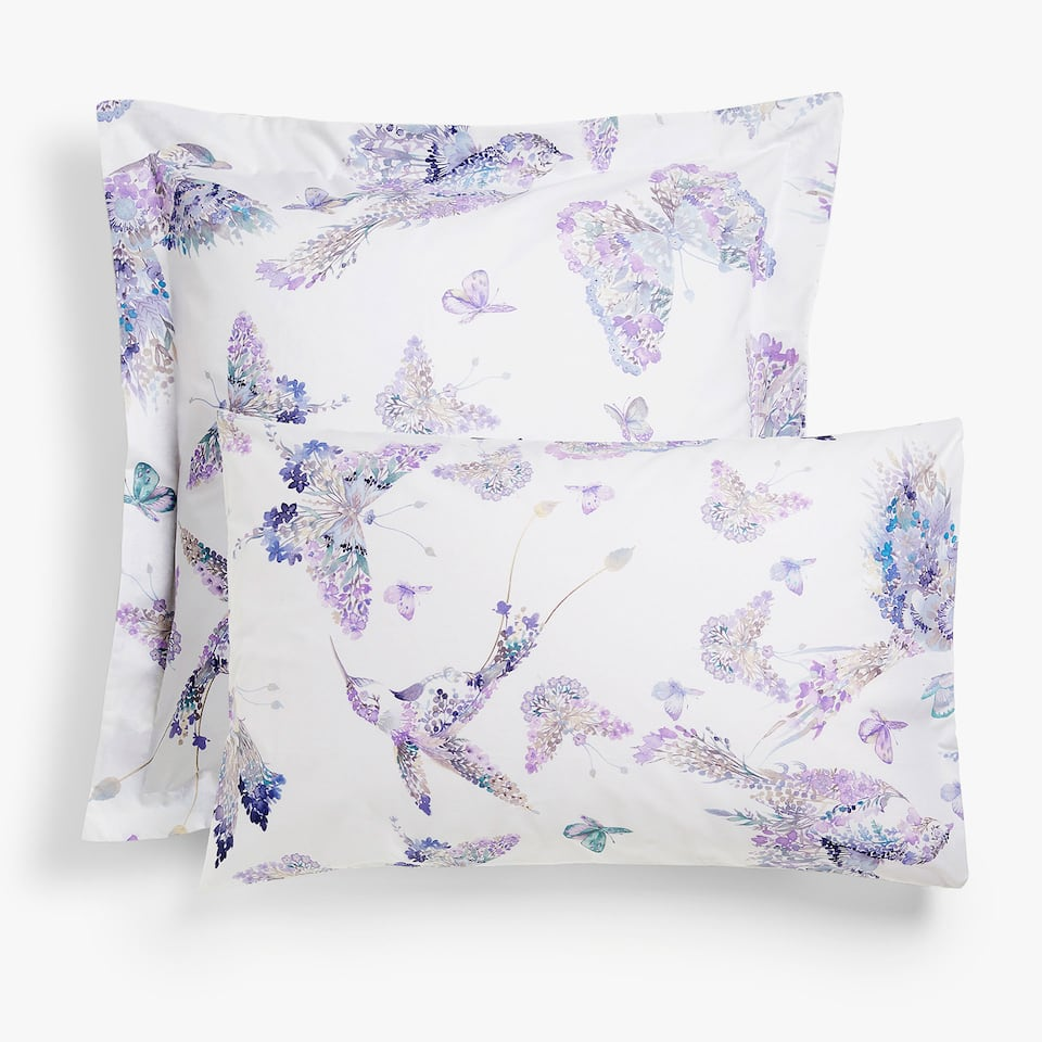 Watercolour bird and butterfly print pillow case