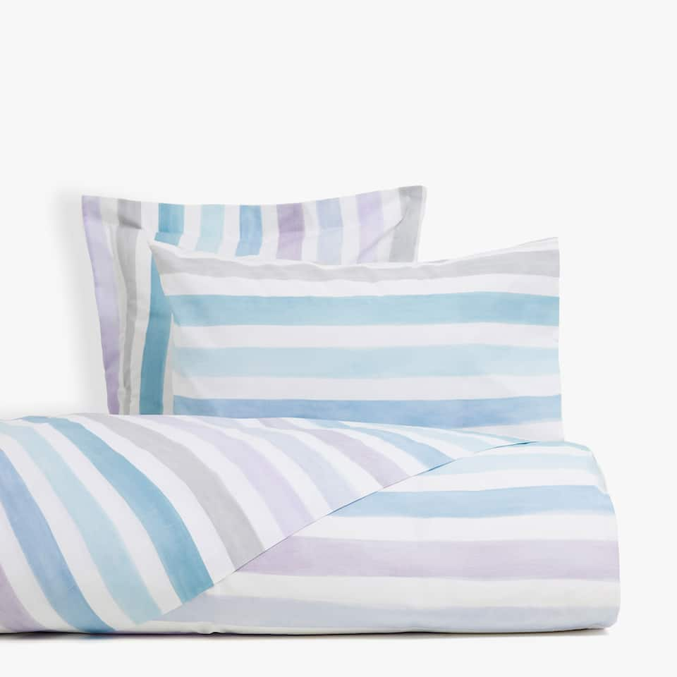 Lilac duvet cover with watercolour stripes
