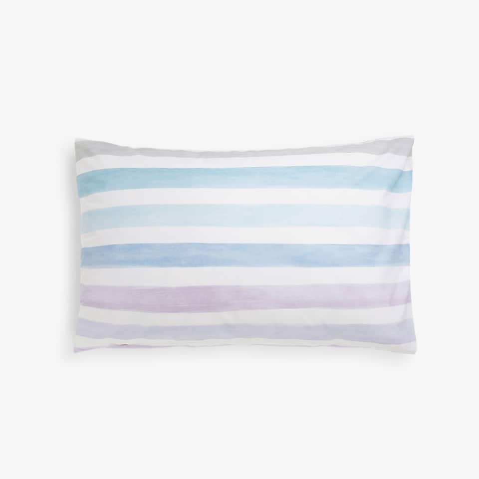 Lilac pillow case with watercolour stripes