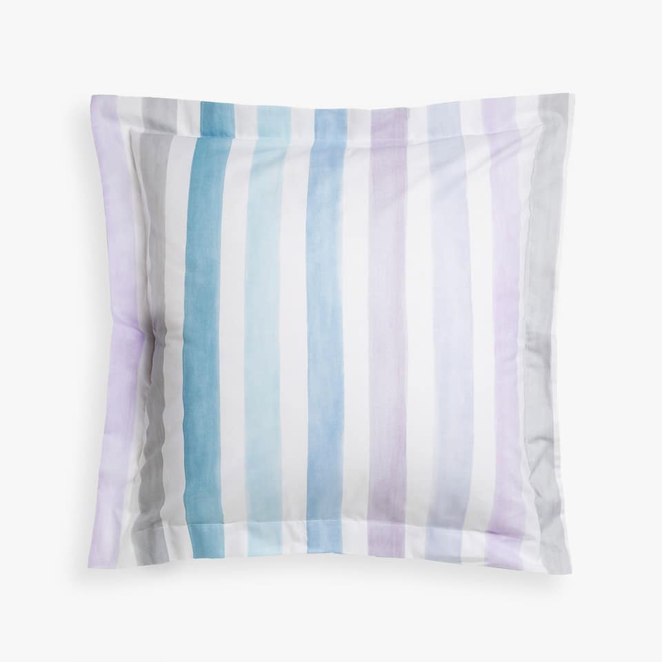 Pillow case with lilac watercolour stripes
