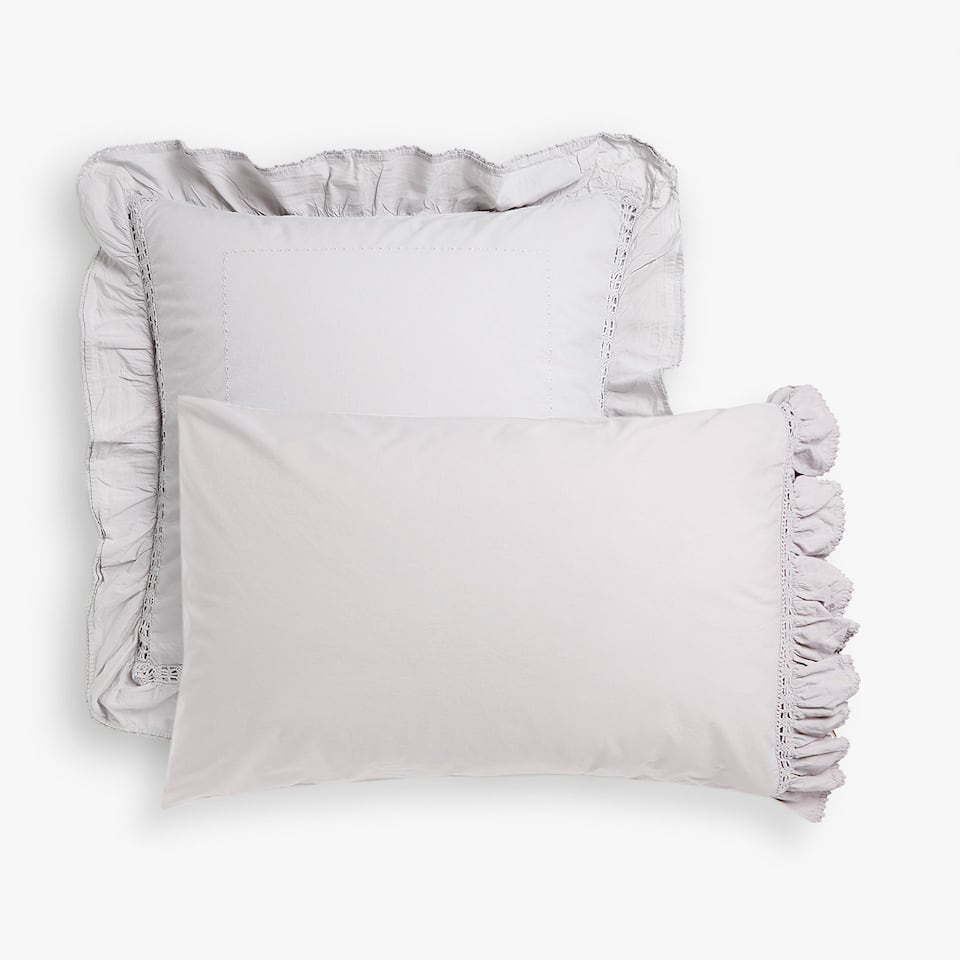 Faded grey percale pillow case with crochet ruffle
