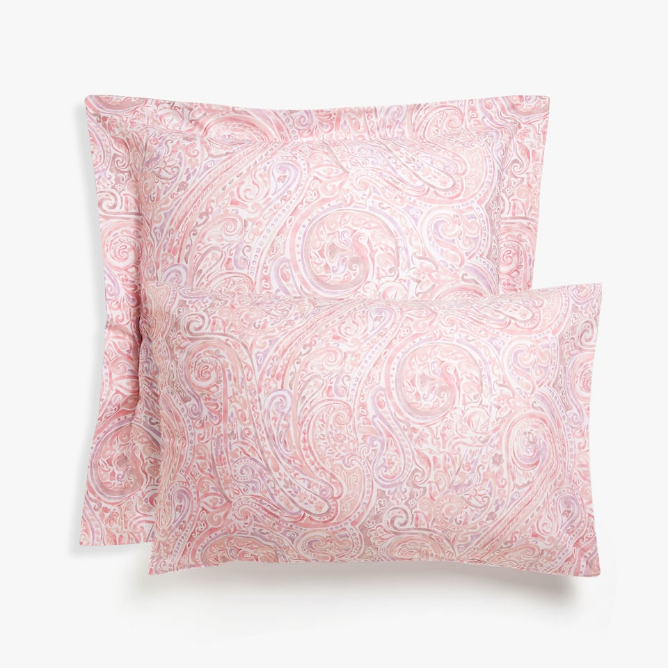 Pink paisley print pillow case