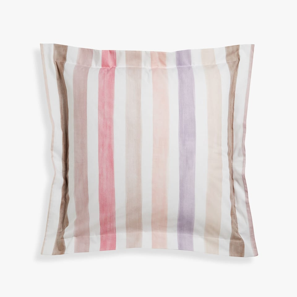Pink pillow case with watercolour stripes