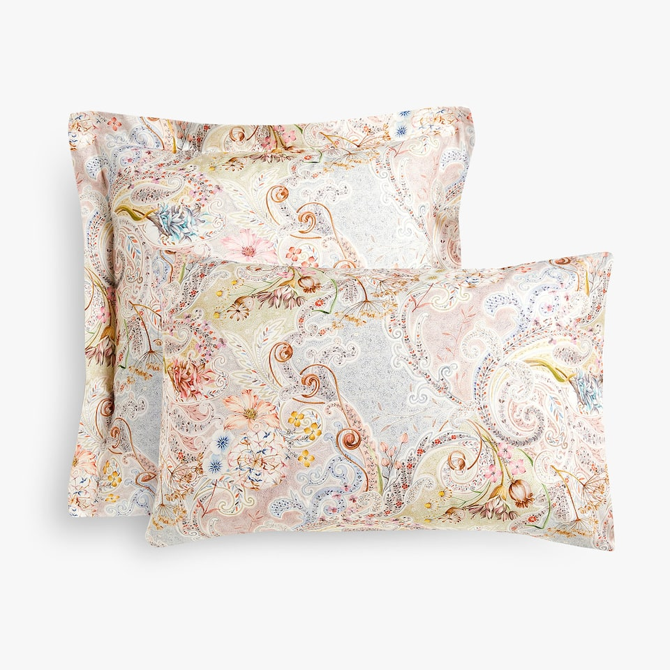 Floral and paisley print pillow case