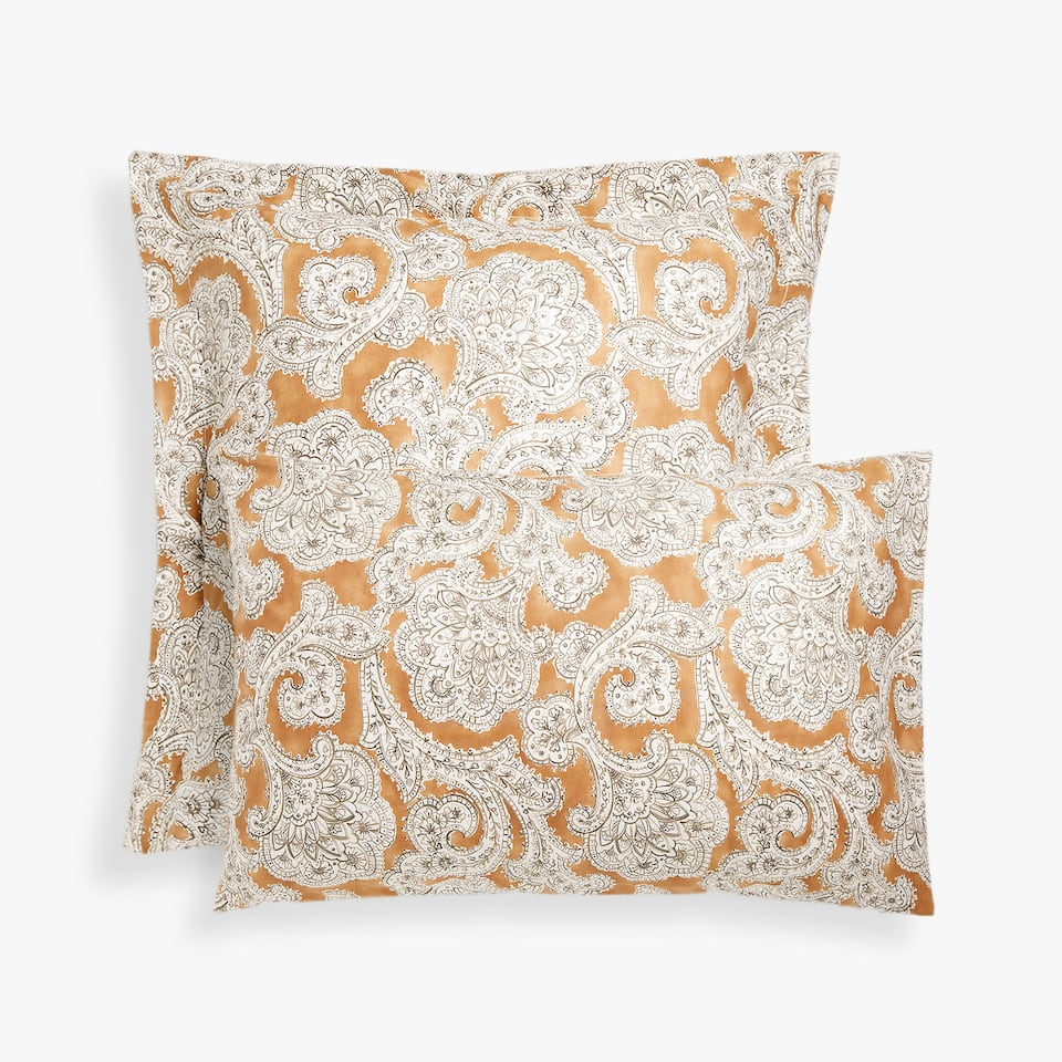 PAISLEY PRINT PILLOW CASE WITH WATERCOLOUR BACKGROUND