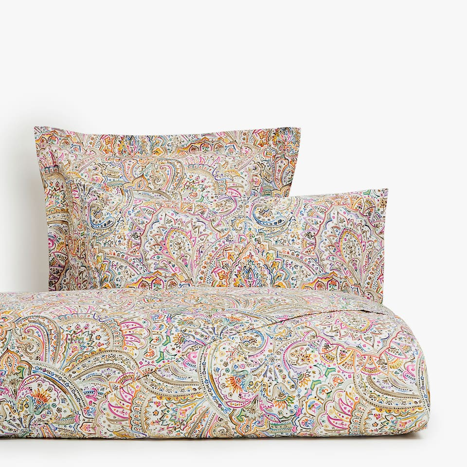 Multicoloured paisley print duvet cover