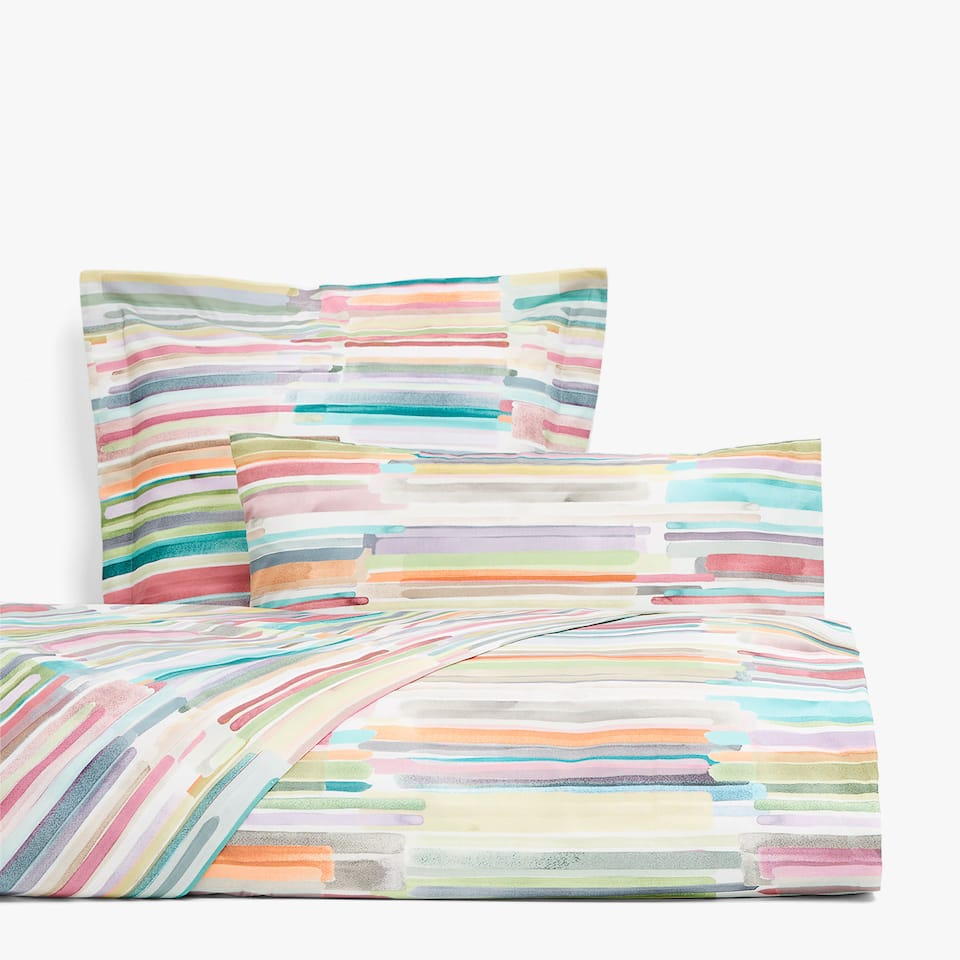Multicoloured striped watercolour print duvet cover