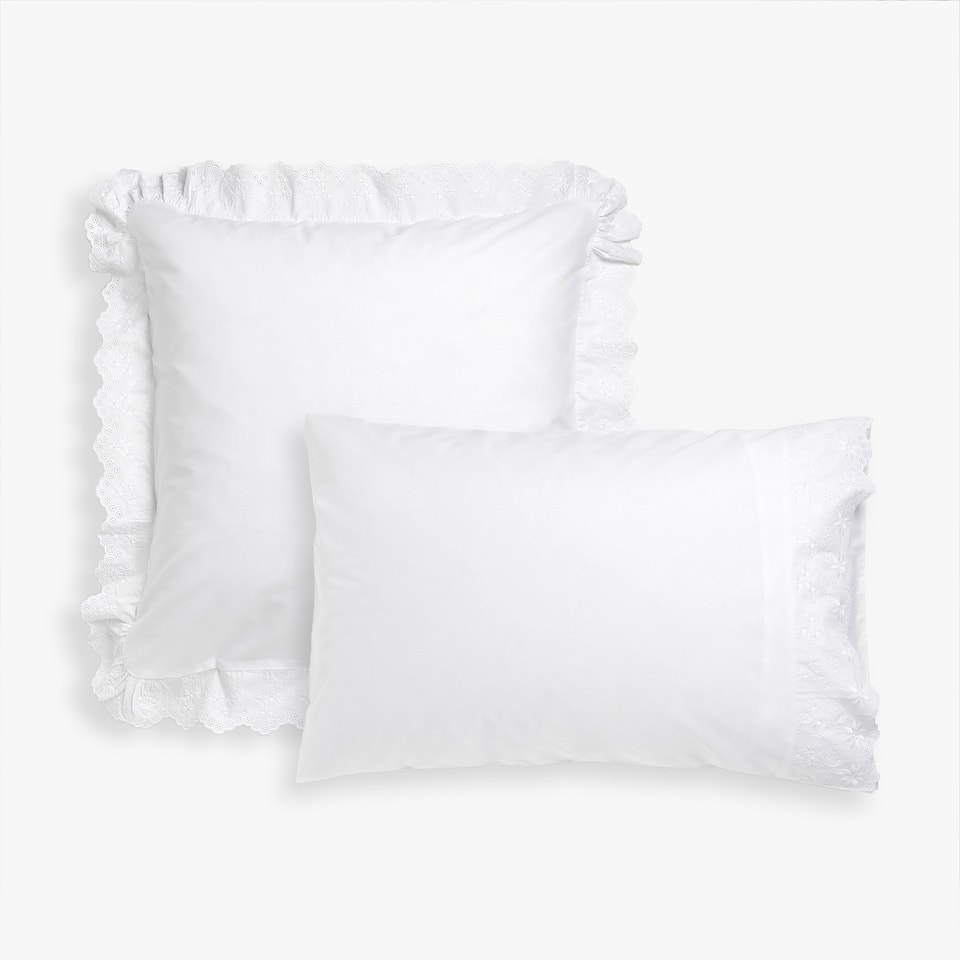 Pillow case with scalloped ruffles