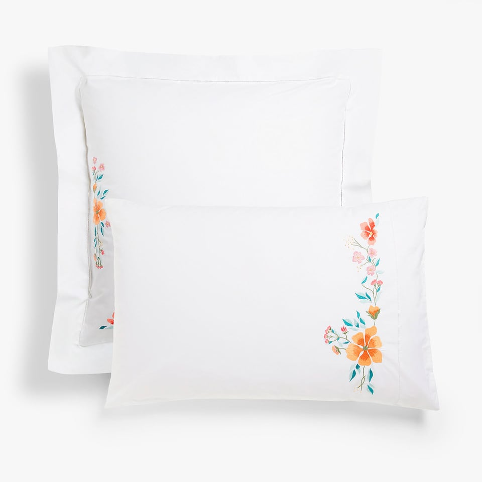 Multicoloured floral embroidered pillow case