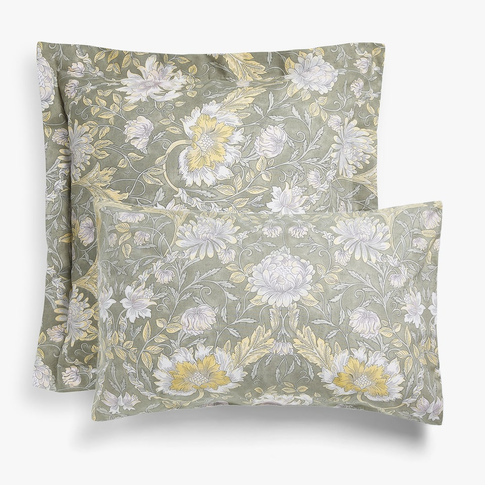 Ornamental print pillow case with dark base