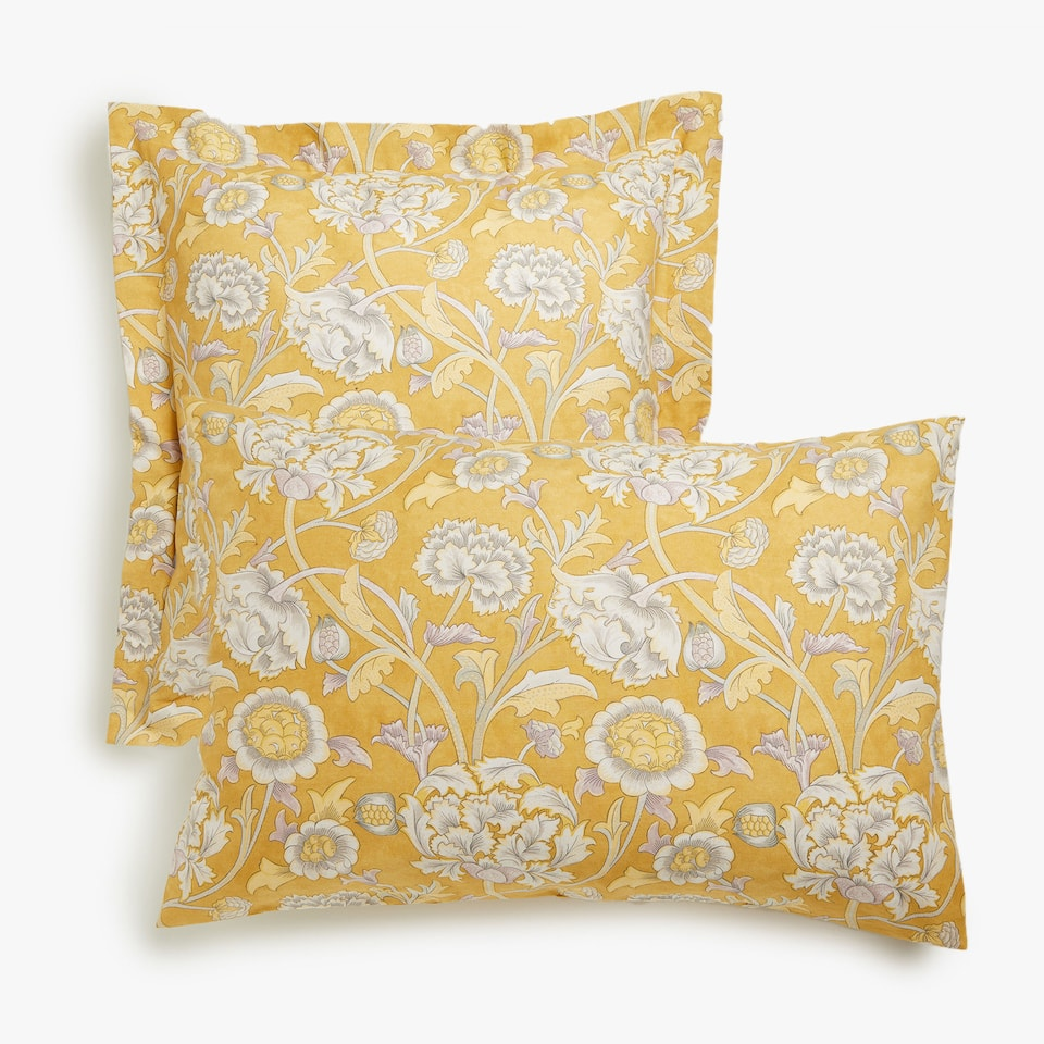 Floral print pillow case with coloured base