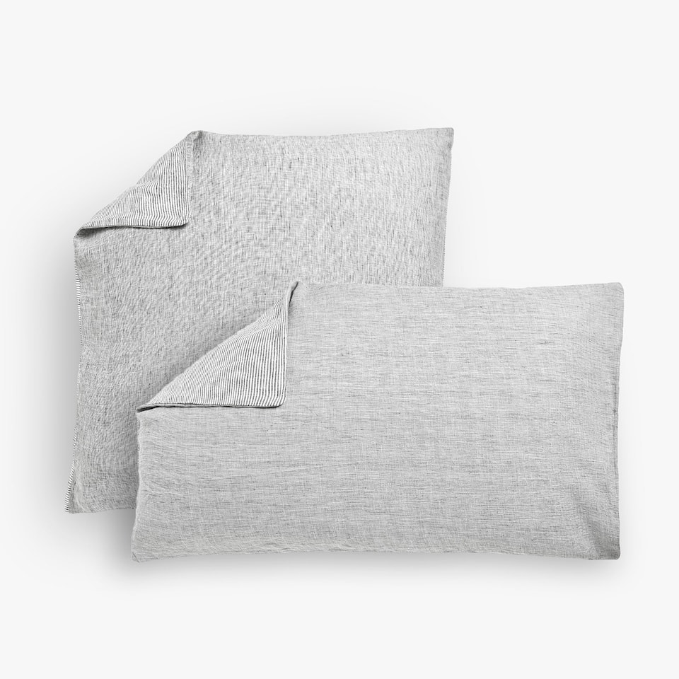 Reversible washed linen pillow case with dyed thread