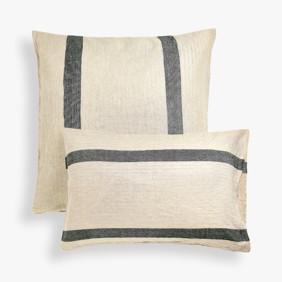 Striped linen pillow case with herringbone effect