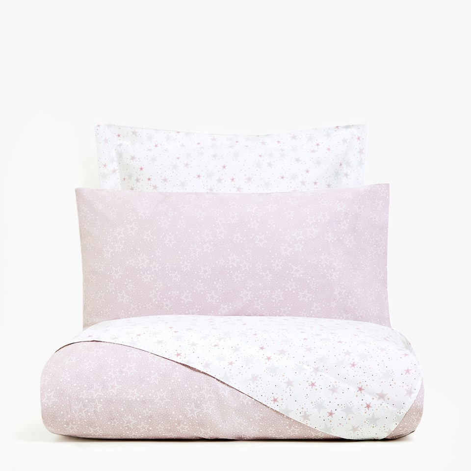 REVERSIBLE PINK STAR PRINT DUVET COVER