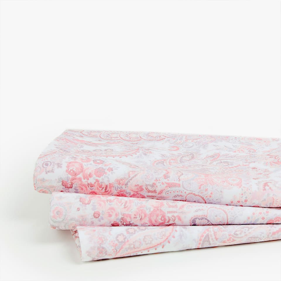 PINK PAISLEY PRINT TOP SHEET