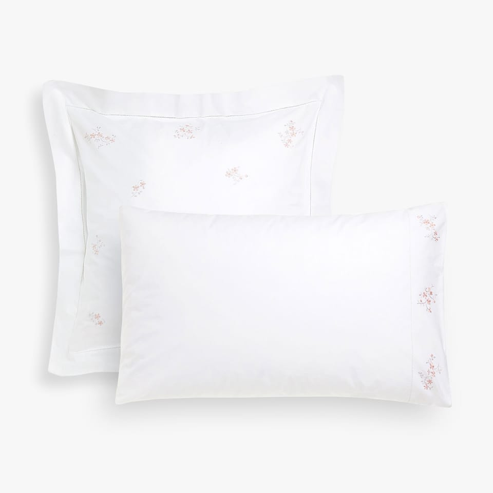 PILLOW CASE WITH EMBROIDERED FLORAL DETAILS