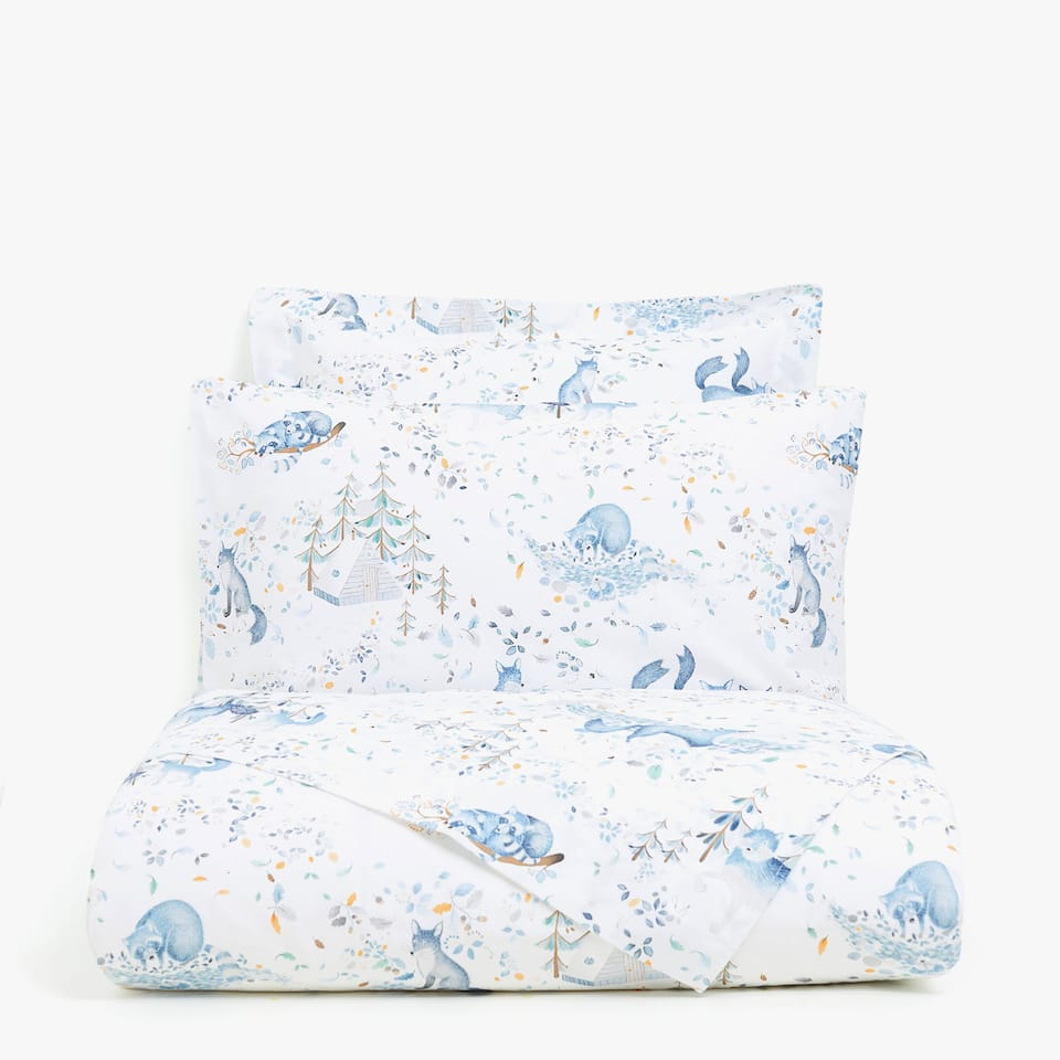 FOREST ANIMALS PRINT DUVET COVER