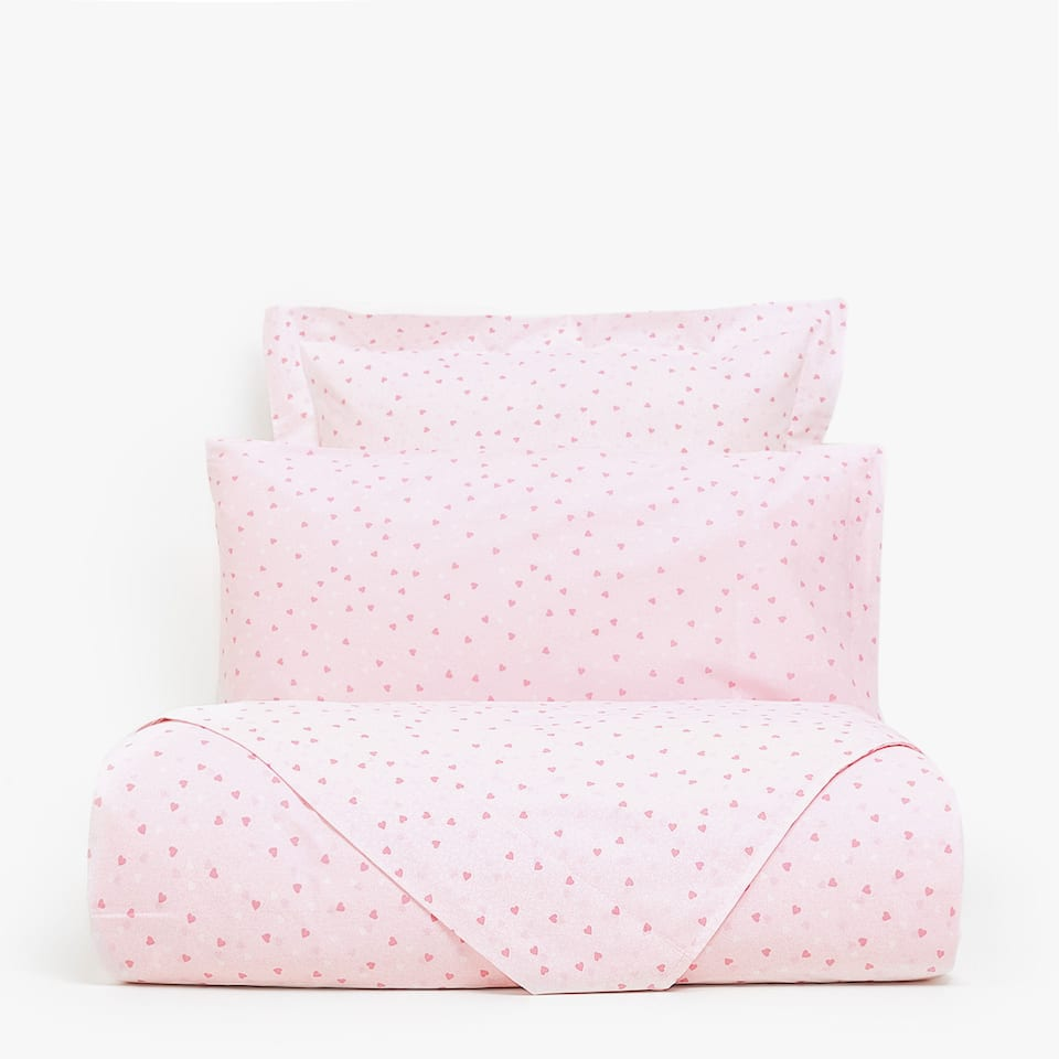 REVERSIBLE PINK HEART PRINT DUVET COVER
