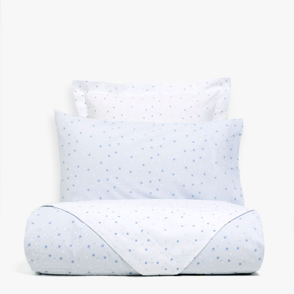 REVERSIBLE BLUE STAR PRINT DUVET COVER
